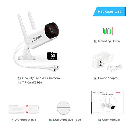 Wireless Outdoor Security WiFi Camera,ANRAN 1080P Waterproof Surveillance Camera for Home with Two-Way Audio, Night Vision, Motion Detection,Email Alert,Remote Access (32GB Micro SD Card Included)