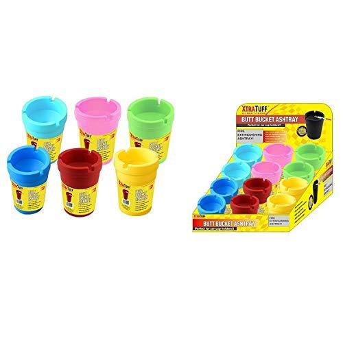 - Ashtray 6 Jumbo Neon Butt Bucket Self Extinguishing Cigarette Holder Assorted Color NEW