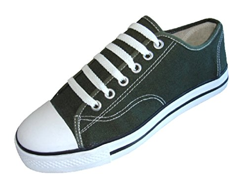 Mens Classic Canvas Lace Up Shoes Sneakers 4 Colors Available Hunter Green 327M Yrr2r