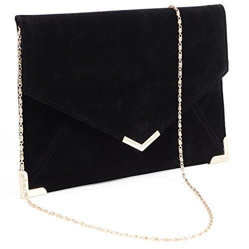 Faux Leather Wedding Envelope Large Evening Clutch Bag Women Bag Shoulder Bag by Anladia