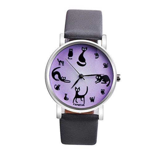 - Yoyorule Women Cute Cat Faux Leather Analog Quartz Watch (Gray)