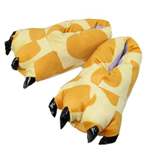 CuteOn Unisex Soft Plush Cartoon Winter Slippers Cosplay Costume Animal Paw Claw Shoes Giraffe KtO9bUIqD