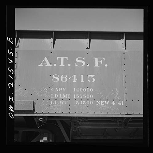 Vintography Reproduced Photo of San Bernardino, California. Data on a Gondola car of The Atchison, Topeka, and Santa Fe Railroad 1943 Delano C Jack 45a