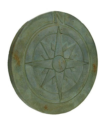 Zeckos Compass Rose Symbol Green Verdigris Finish Round Cement Step Stone 10 Inch (Path Verdigris)
