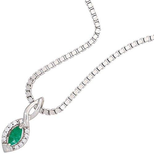 Pendentif émeraude et diamants spitzoval vert 10 brillantes pour femme en or blanc 333