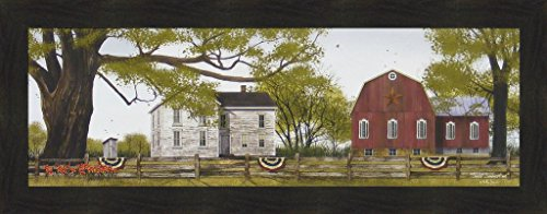 Billy Jacobs 16x40 Farm House Red Barn Outhouse Flowers Americana Flag Summer 4 Seasons Folk Art Framed Print Picture ()