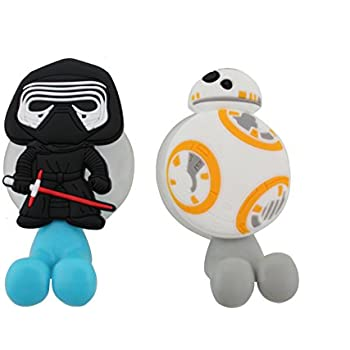 Finex Set of 2 STAR WARS Kylo Ren & BB-8 Droid Toothbrush Holders with Suction Cup for wall in bathroom at home