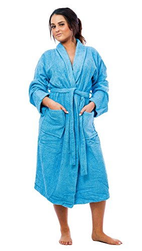 Robe Terry Classic (Up2date Fashion Women's Classic Terry Robe, Style TRW21 (S/M, Blue))