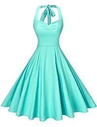Women's Rockabilly 50s Vintage Polka Dots Halter Cocktail Swing Dress