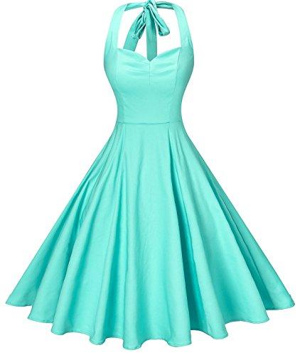 Mint Womens Dress - V fashion Women's Rockabilly 50s Vintage Solid Color Halter Cocktail Swing Dress, Mint XXL