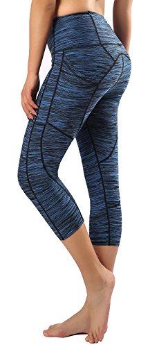 Neonysweets Women's Capri Workout Leggings with Pocket Running Yoga Pants Sky Blue Black XL