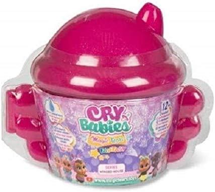 Casetta Alata Cry Babies Magic Tears Fantasy Winged House Bambole con Glitter in Capsula Serie Winged House Colore Fucsia