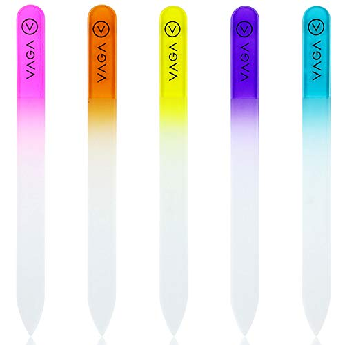 VAGA Premium Set Of 5 Crystal Nail Files Rainbow Colors In A Pouch - Best Glass Nail Files For Natural Nails Nail Hardener And Acrylic Nails, Stronger Then Emory Boards For Nails A Must Have Nail File ()