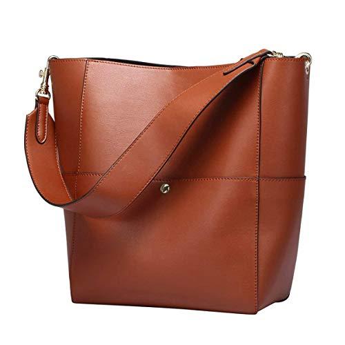 S-Zone Women's Fashion Vintage Leather Tote Shoulder Bag Handbag Purse (Black-1) Brown-1