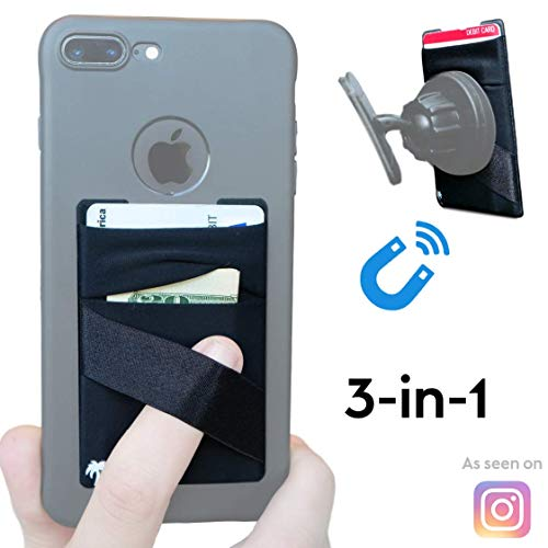 Magnet Finger (NEW 3-in-1 Stick On Walletfor Any Phone Case | Unique: Spandex + Mounts to Magnets + Double-Pocket + Finger Strap + RFID Block – Strong 3M Sticky + Magnetic (iPhone XS Max 8 Plus, Samsung S10 S9 etc))