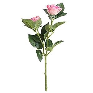 wintefei 1Pc Artificial Rose Flower Dual-Head Garden Arrangement Home Wedding Party DIY Decor Gift - Dark Pink 20