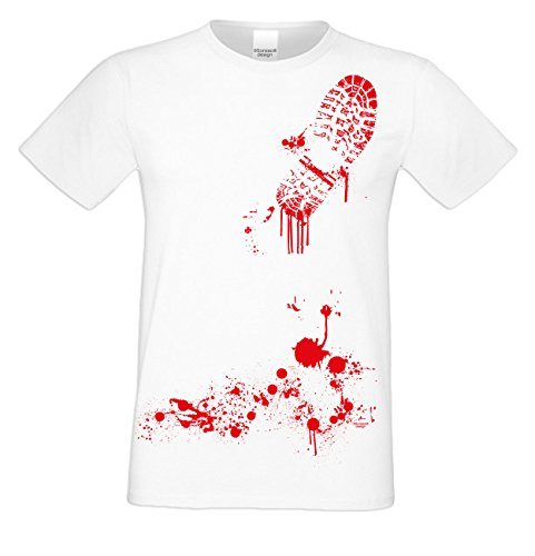 Halloween T-Shirt - Blutiger Fußabdruck Shirt weiß - gruseliges Motiv Shirt für Leute mit Humor
