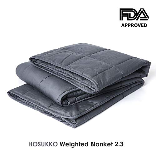 HOSUKKO Weighted Blanket Adult 60''x80'', 20lbs for 170-230lb Individual, Queen Sized Bed Weighted 2.0 Heavy Blanket 100% New Cotton with Glass Beads Grey for Adults, Youths