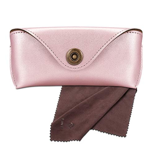 Fintie Portable Sunglasses Case, Semi-Hard Vegan Leather Glasses Carrying Case Eyewear Pouch with Snap Button Closure, Rose ()