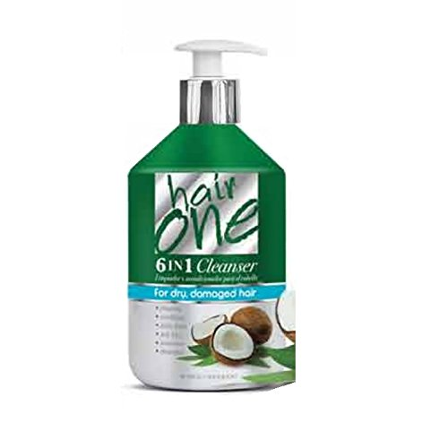 Hair One 6 in 1 Cleanser for Dry, Damaged Hair - Coconut 16.9 oz. (Pack of 6) by Hair One