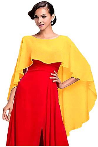 Wedding Capes Womens Soft Chiffon Shrug Bridal Long Shawl and Wraps (Yellow gold)