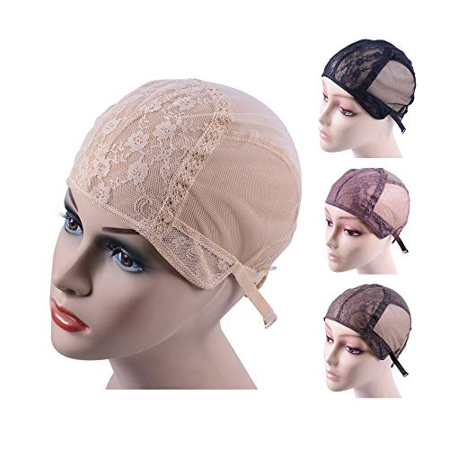 Double Lace Wig Cap for Making Wigs with Adjustable Straps on the Back Swiss Lace Hairnet (Blonde M)