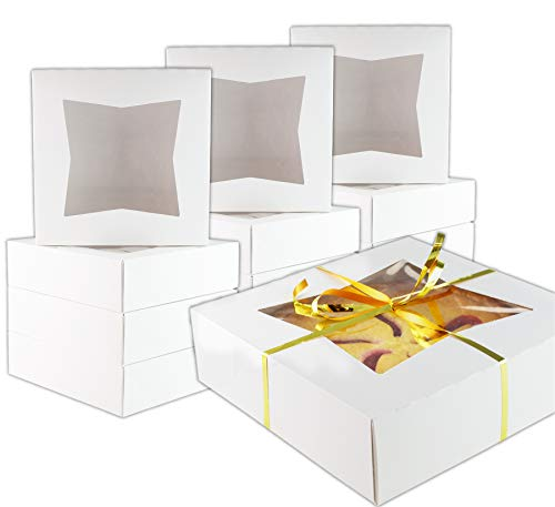 Durable Pie Box With Window, 10x10x2.5 Inches, Perfect for Pies and Low Profile Cakes, Set of 12 - By Chefible