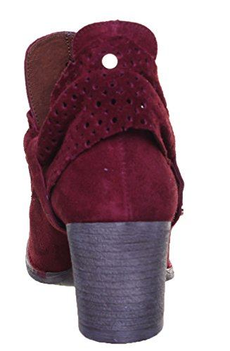 Justin Reece Mujer Descamación perforados Ankle Boot Red TF1
