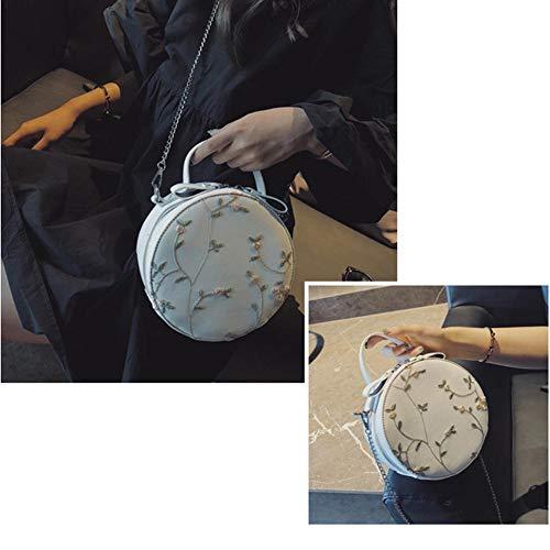 Femme Version Broderie Terferein Coréenne Fille Dentelle Rond Pour Petit Messenger Blanc Bandoulière Sac Fraîche Chaîne F58O8wqC