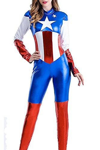 V17 Women Halloween Captain America Costume Cosplay Adult Female Superhero Jumpsuit (XL, Blue)