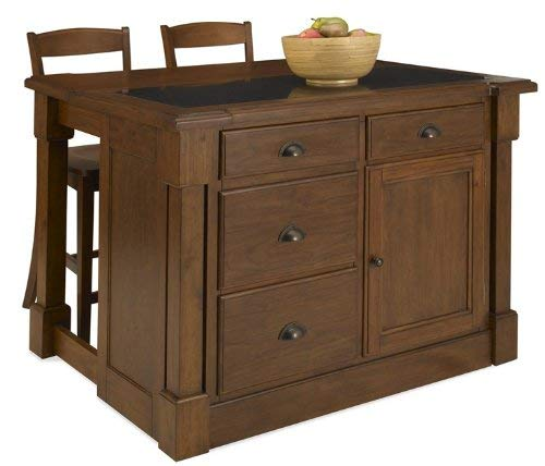 Aspen Rustic Cherry Kitchen Island with Granite Top and 2 Stools by Home Styles