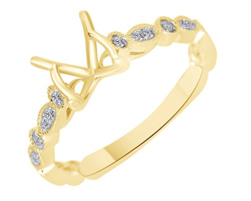(White Natural Diamond Semi Mount Anniversary Ring In 14k Yellow Gold (0.2 Cttw) Ring Size-7)
