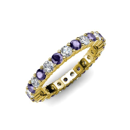 Iolite and Diamond Common Prong Eternity Band 2.00 ct tw to 2.40 ct tw in 14K Yellow Gold.size 6.0 (Eternity Diamond 2ct Tw Band)