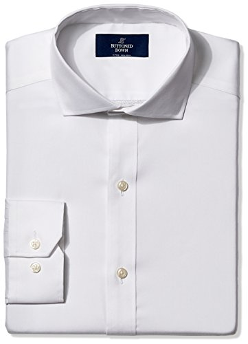 BUTTONED DOWN Men's Fitted Cutaway-Collar Non-Iron Dress Shirt, White, 18.5