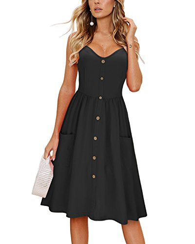 (KILIG Women's Summer Dress Spaghetti Strap Button Down Sundress with Pockets(Black,XL) )