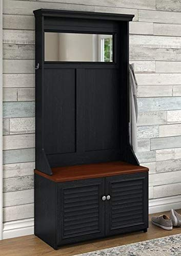 Amazon.com: Hall Trees with Bench and Coat Racks - Antique Black Wood with Two Hooks Cabinet and Mirror - Organizing Your Space with Sophistication: Home & ...
