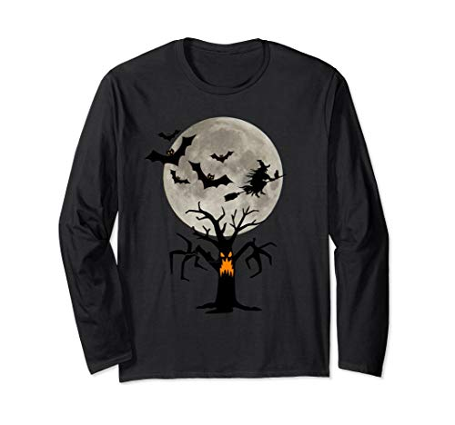 Boo Halloween T-Shirt With Flying Bats And Witch Black Cat -