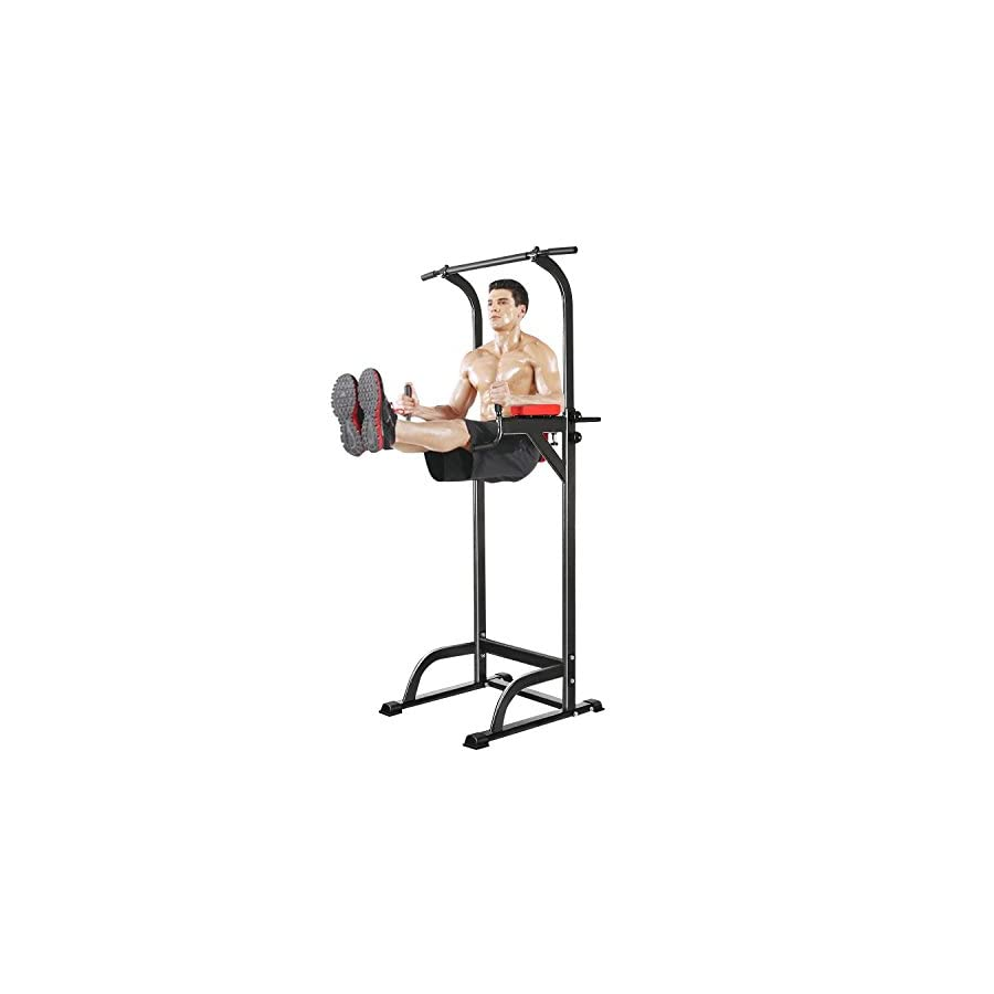 Power Tower 350 lbs Dip Station Adjustable Height for Home Gym (Black)