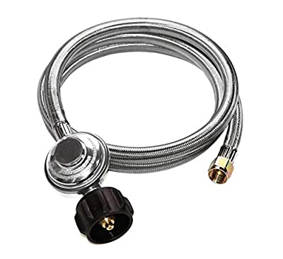 """DOZYANT Universal QCC1 Low Pressure Propane Regulator Grill Replacement with Stainless Steel Braided Hose for Most LP Gas Grill, Heater and Fire Pit Table, 3/8"""" Female Flare Nut …"""