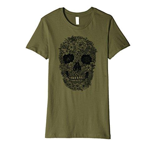 Womens Flower Skull T-shirt (grim skull shirt) Large Olive