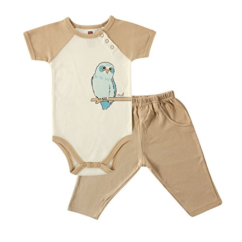 Touched by Nature Baby Organic Bodysuit and Pant Set, Owl, 6-9 Months (9M)