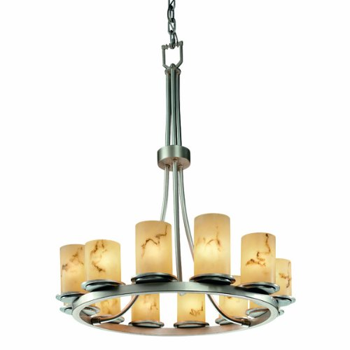 Justice Design Group LumenAria 12-Light Chandelier - Matte Black Finish with Faux Alabaster Resin Shade