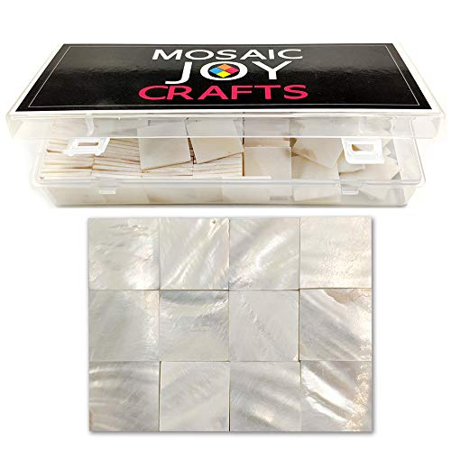 - Mosaic Tiles Mother of Pearl Mosaic Supplies for Crafts White Mosaic Pieces for DIY Crafts Pieces 0.8X0.8 inch by Moasic Joy (170 pcs, Pure White Square)
