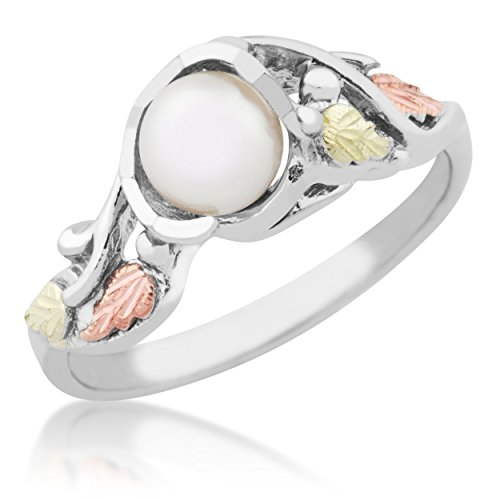 White Freshwater Cultured Pearl Grape Leaf Ring, Sterling Silver, 12k Green and Rose Gold Black Hills Gold Motif, Size 8