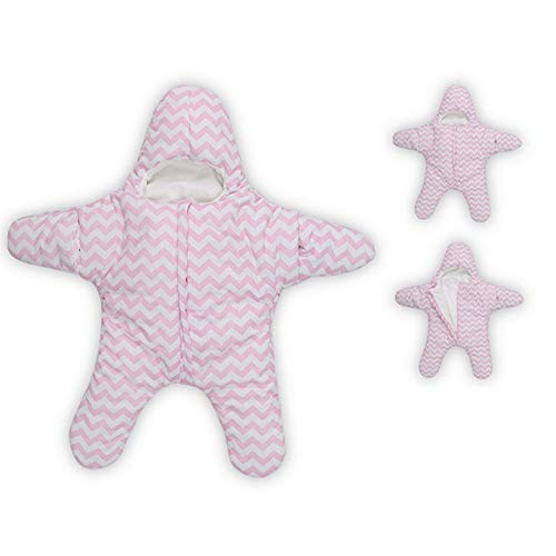RubyShopUU Cute Star Winter Thick Newborn Sea Star Baby Paded Starfish Sleeping Bag with Cap Sleepsacks Fleece Stroller Fleabag ()