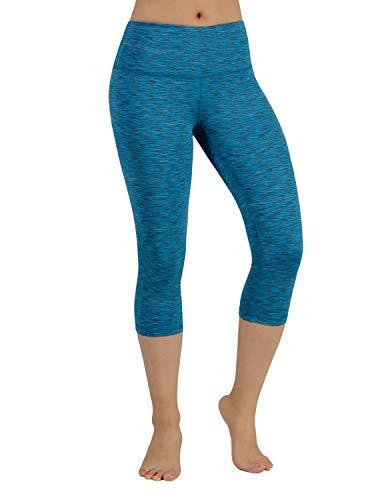 ODODOS Power Flex Yoga Capris Tummy Control Workout Non See-Through Pants with Pocket,SpaceDyeBlue,Medium