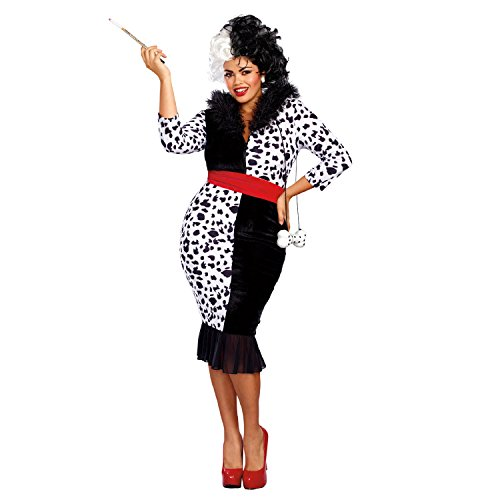 Dreamgirl Women's Dalmatian Diva Plus Size, Black/White, 3X -