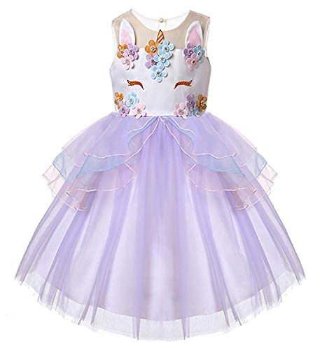TTYAOVO Flower Girls Unicorn Costume Kids Pageant Princess Party Dress Size 5-6 Years Purple -