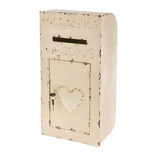 CB Imports Wedding Post Box Metal Card Box Shabby Chic Display Vintage Wedding White Heart
