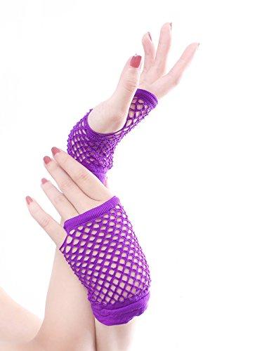 [Women's Wrist Length Fingerless Fishnet Gloves for Parties, Costumes MT02 Purple] (Purple Wrist Length Fishnet Gloves)
